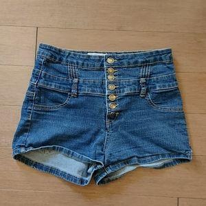 High waisted stretchy denim shorts